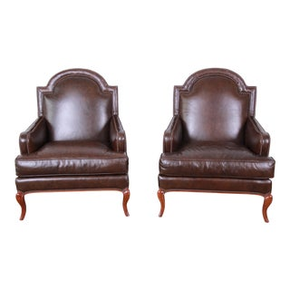 Baker Furniture Brown Leather Lounge Chairs - A Pair For Sale