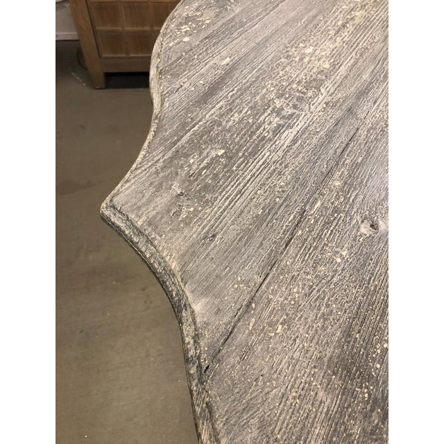Shabby Chic Shabby Chic Gray Washed Pedestal Dining Table For Sale - Image 3 of 6