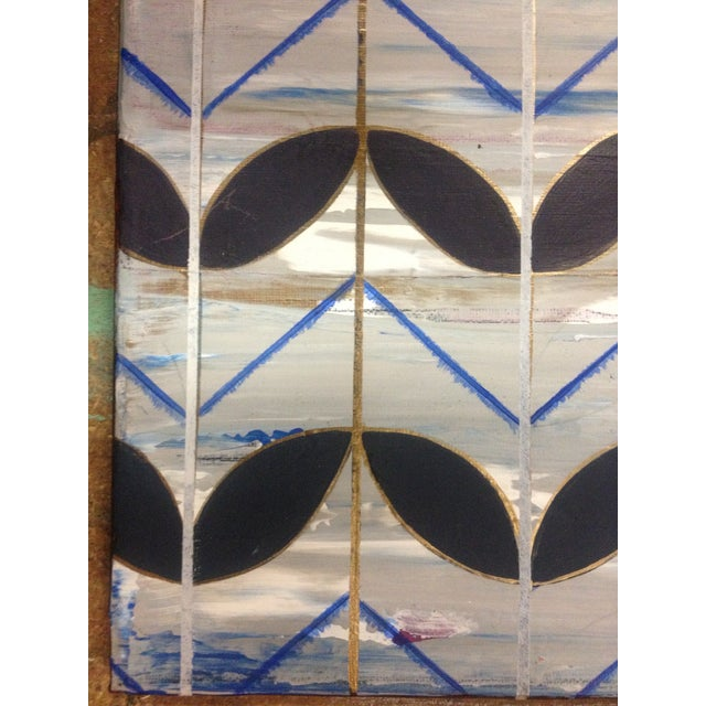 Contemporary Blue Deco Leaves Painting For Sale - Image 3 of 6