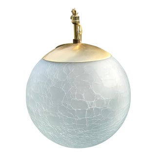 Vintage Moe Light Crackled Etched Glass Pendant Globe Light For Sale