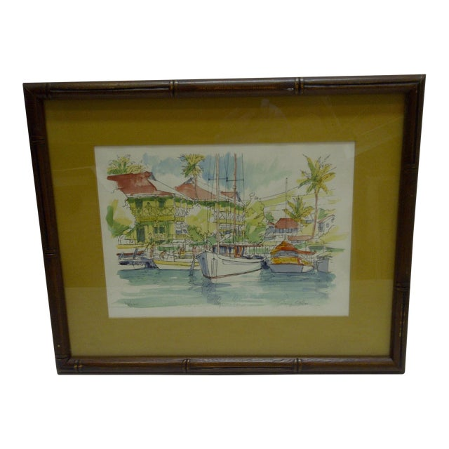 "Limited Numbered (27/200) Signed Framed Print - ""Pioneer Inn Harbor"" by George Allan For Sale"