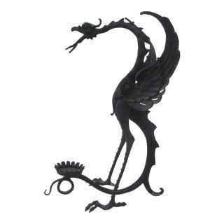 Vintage Sculpted Bronze Dragon Candleholder For Sale