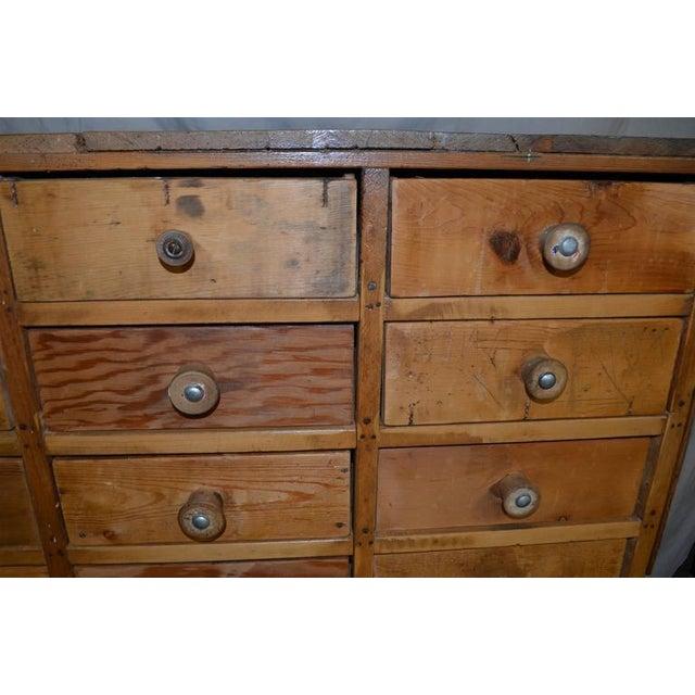 Vintage Handcrafted 15-Drawer Pine Storage Cabinet - Image 8 of 10