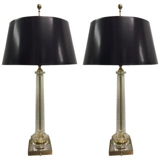 Pair Neoclassical Style Glass and Brass Lamps by Chapman For Sale