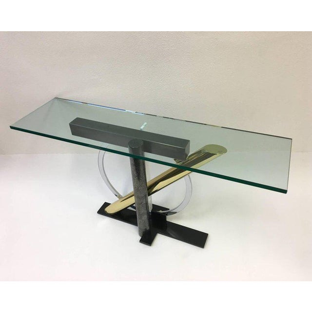 1980s Mixed Metals and Glass Console Table by Kaizo Oto for DIA For Sale - Image 5 of 9