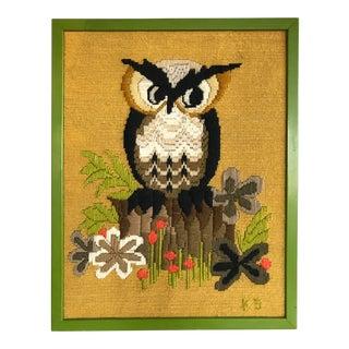 Vintage Erica Wilson Vladimir Kagan Owl Crewel Embroidery Framed