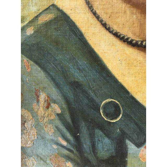 Vintage Mid-Century Oil Portrait - Image 4 of 4