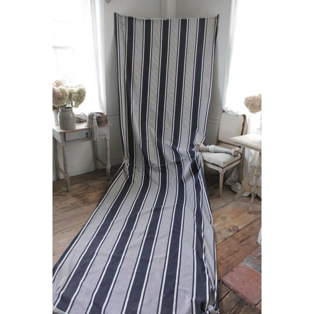 "Antique French Indigo Blue Stripes Ticking Denim Fabric - 51"" X 150"" For Sale - Image 6 of 6"