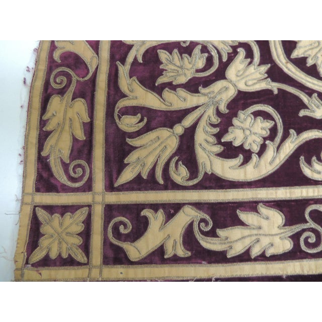 Antique Italian gold and burgundy silk on silk velvet applique textile panel with metallic threads embroidery. Depicting...