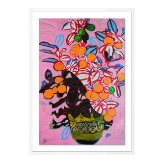 Orange Tree by Jelly Chen in White Framed Paper, Medium Art Print For Sale