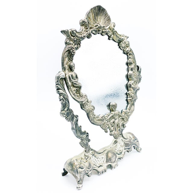 Silver Art Nouveau Dressing Table Mirror For Sale - Image 8 of 9