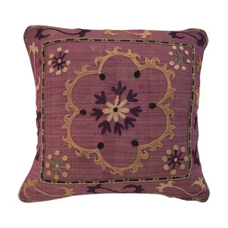 Antique Embroidered Textile Pillow For Sale