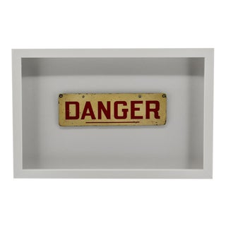 Framed Vintage Danger Sign, Wall Art For Sale