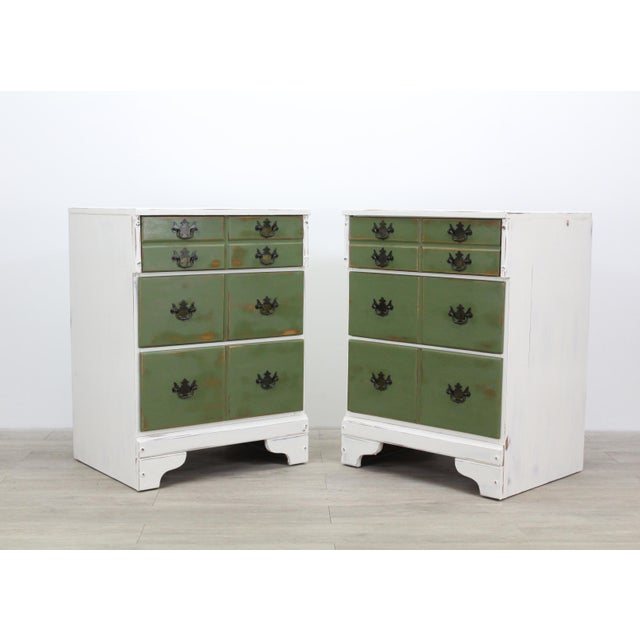 French Pair of Mid-Century 3-Drawers Nightstands, Provincial Nightstands For Sale - Image 3 of 11