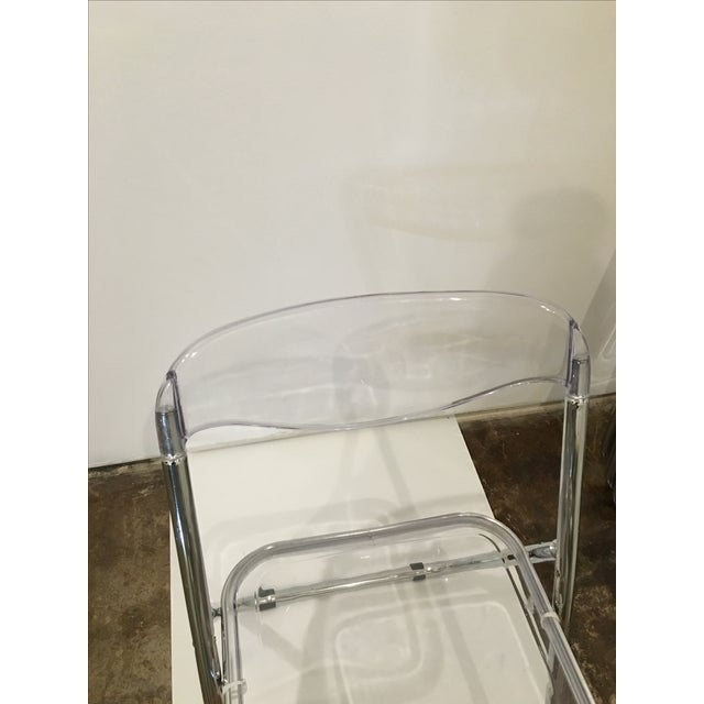 Mid Century Modern set of Six Lucite and Metal Folding Chairs - Image 4 of 7