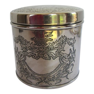 Silver-Plate Round Etched Tea Caddy For Sale