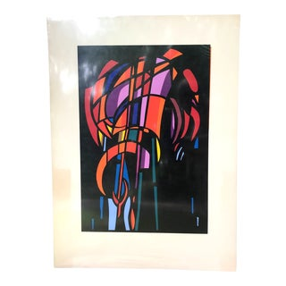 1980s Vintage Geometric Mosaic Lithograph Print For Sale