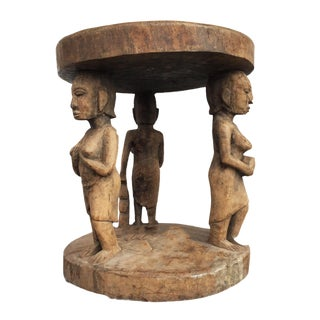 """Superb Lg African Baga Stool / Table Guinea 20"""" H by 17.75"""" D For Sale"""
