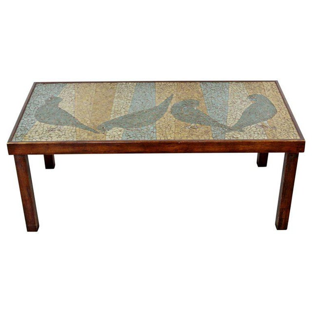 Green Mid-Century Modern Birds Mosaic Tile Art Top Rectangular Wood Coffee Table, 1960s For Sale - Image 8 of 8
