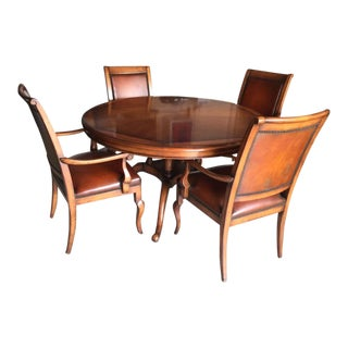 5 Piece Bernhardt Wood and Leather Dining or Players Table & Chairs For Sale