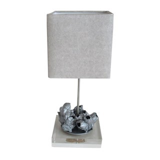 South African Barnacle Table Lamp in Metallic Silver For Sale