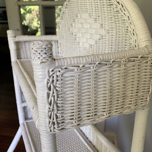 1970s Shabby Chic White Woven Wicker Etageres Bookcase For Sale - Image 4 of 9