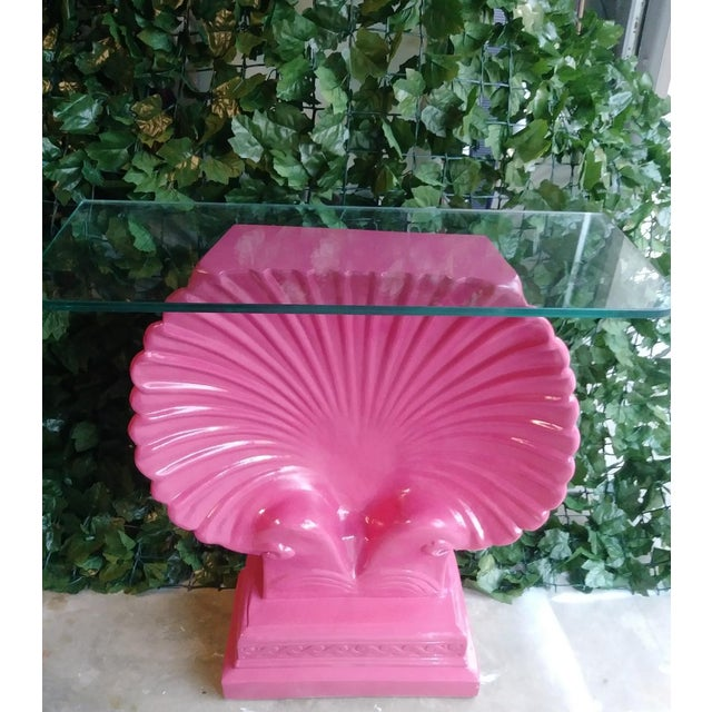 Clam Shell Bright Pink Palm Beach Regency Console Table Base Grosfeld House Style For Sale - Image 11 of 11