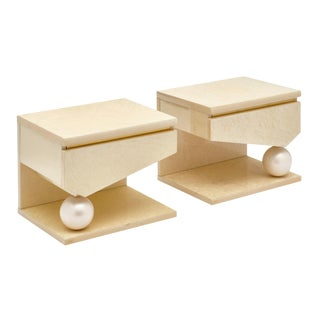 Modernist Side Tables by Eric Maville for Jean-Claude Mahey - a Pair For Sale
