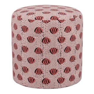 Drum Ottoman in Red Lotus For Sale