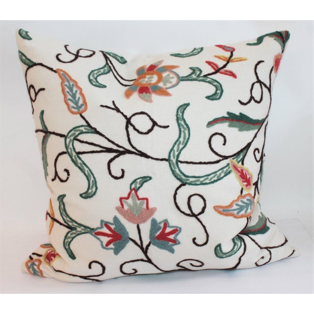 Beautiful and vibrant colorful crewel work pillow. This pillow has been professionally laundered and has been fitted with...