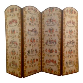 Vintage English 4-Panel Mahogany Floor Screen Decorative Fabric English Military Panels For Sale