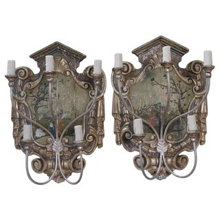 Pair of Hand-Painted Chinoiserie Five-Light Sconces For Sale