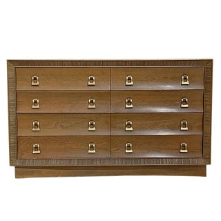 Paul Frankl / Brown Saltman Cerused & Combed Oak W. Brass Pulls 8 Drawer Dresser For Sale