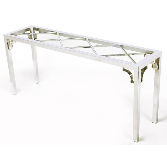 Chrome and Glass Chinese Chippendale Console Table - Image 3 of 6