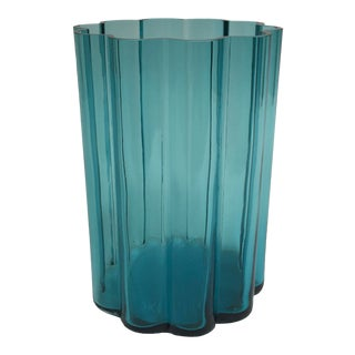 Dansk Mid-Century Modern Teal Blue Fluted Cylinder Vase For Sale