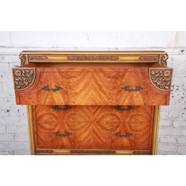 Gold Romweber French Provincial Louis XV Burled Mahogany Highboy Dresser For Sale - Image 8 of 13