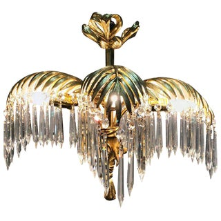 French Dore Bronze and Crystal Palm Chandelier For Sale