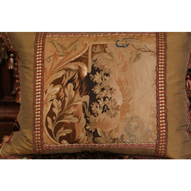 French Handmade French Pillow With 19th Century Aubusson Verdure Tapestry Fragment For Sale - Image 3 of 10