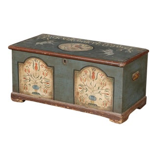 19th Century Antique Hand Painted Blanket Chest For Sale