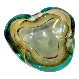 Vintage Murano Art Glass Sommerso Pale Amber and Cyan Bowl/Ashtray For Sale