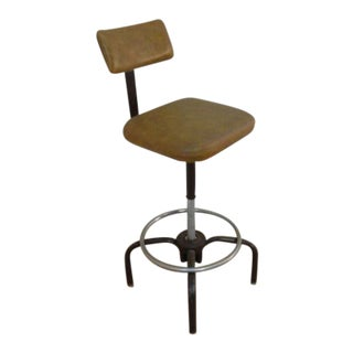 Mid-Century Industrial Revolving Stool Chair For Sale