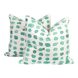 Mint Linen Guinea Pillows - A Pair
