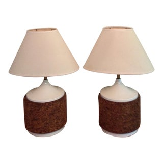 Pair of Vintage Mid Century White Lacquer Cork Table Lamps For Sale