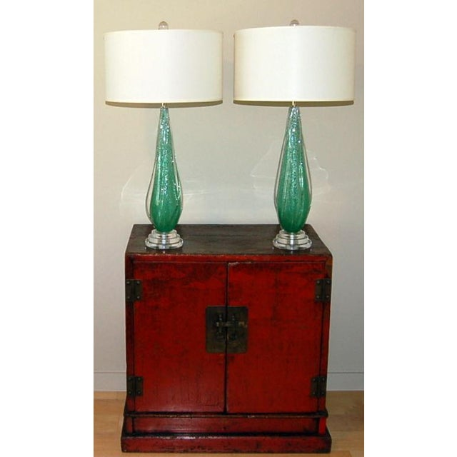 Silver Vintage Murano Pulegoso Glass Table Lamps Green For Sale - Image 8 of 8