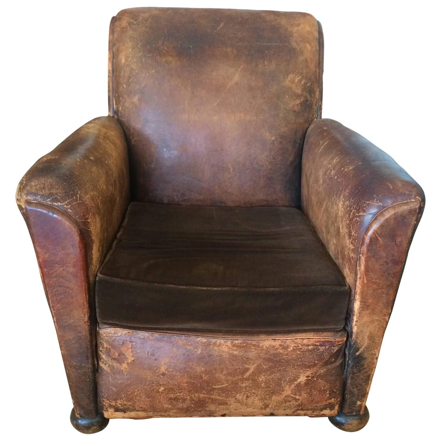 Distressed Leather U0026 Velvet French Club Chair