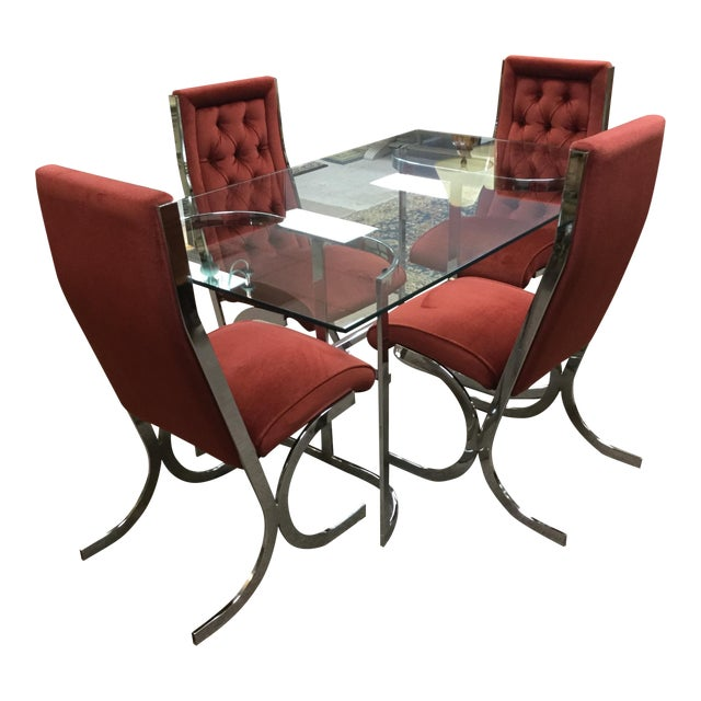 Vintage Mid-Century Chrome & Glass Dining Set - Image 1 of 5
