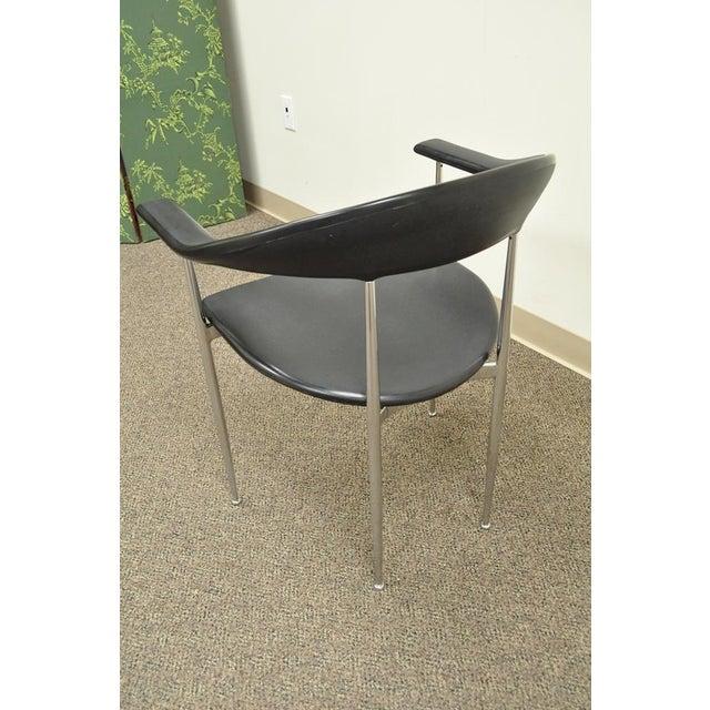 Chrome Vintage Mid Century Modern Fasem Chrome & Molded Vinyl Italian Desk Arm Chair For Sale - Image 7 of 11