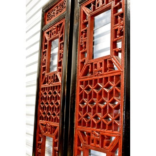 Antique Chinese Red and Black Screens - a Pair Preview