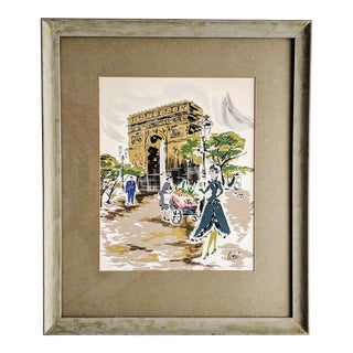 Vintage French Artwork Paint on Silk of Paris Scene in Wood Frame. Signed For Sale