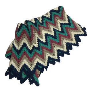 Artisan Hand Knitted Chevron Throw